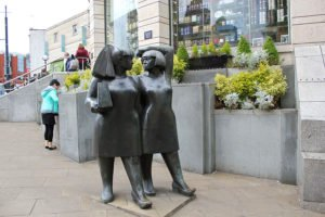 Statue of two ladies outside Centre Court, Wimbledon