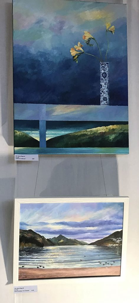 Paintings at art exhibition