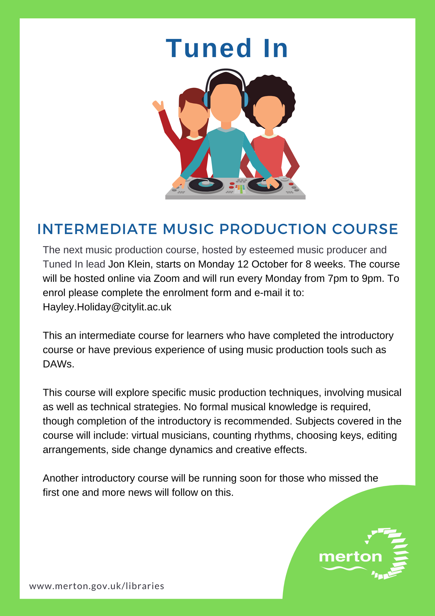 Tuned In Merton Libraries Intermediate Music Production Course